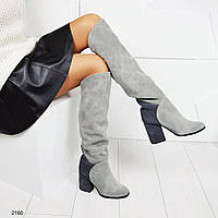 Ботфорты на толстом каблуке, цвет-серый