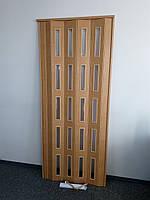 Дверь остекленная 860х2030х6мм  яблоня 809 гармошка раздвижная