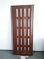 Дверь раздвижная остекленная 860х2030х6мм  каштан 811 гармошка