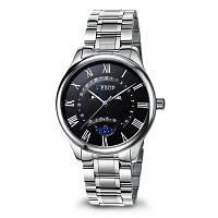 AESOP 8848G Кварцевые часы для мужчин с кожаным ремешком Серебристый ремешок черный циферблат серебристый корпус