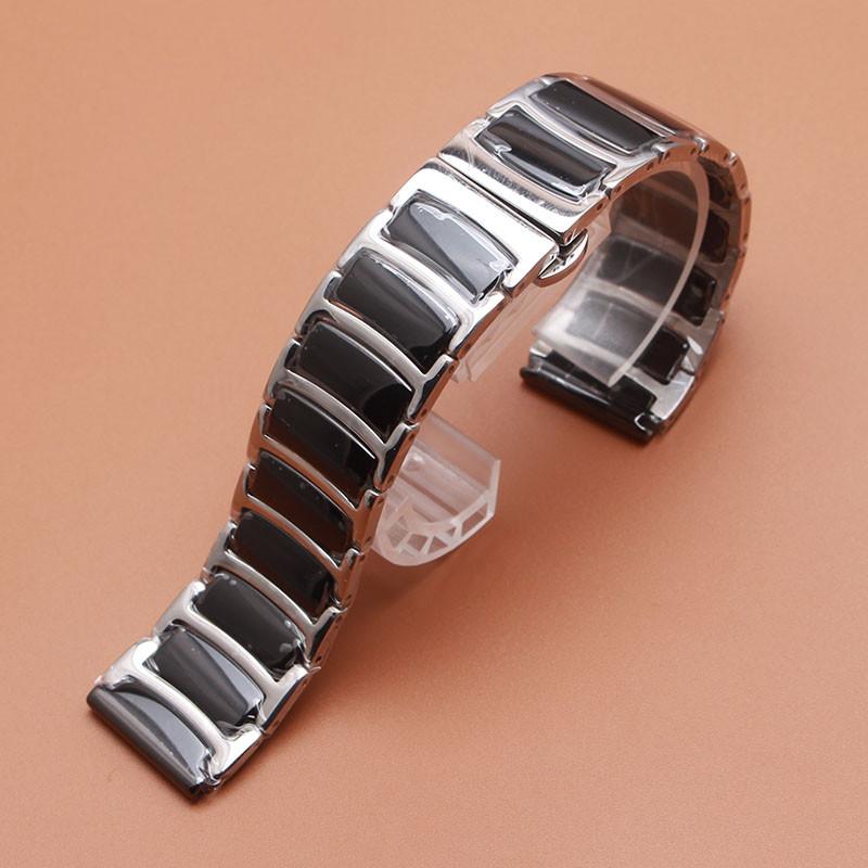 Браслет для часов сталь + керамика. Черный. 22-й размер.
