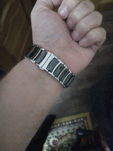 a5429d73 ... фото Браслет для часов сталь + керамика. Черный. 22-й размер., ...