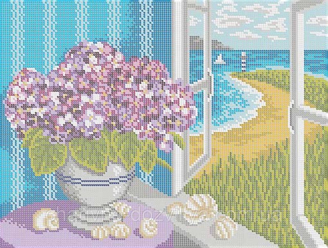 "Схема для вышивки бисером на габардине ""Окно на море"""