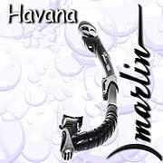 Трубка Marlin HAVANA blue изогнутая гофра, с верхним клапаном