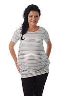 Футболка полосатая для беременных ДЕЛОВАЯ МАМА (белая, размер S)