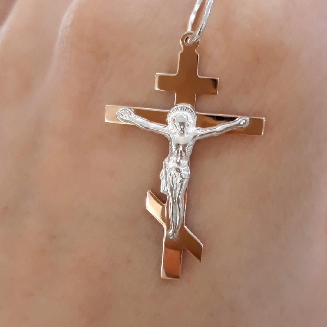 Серебряный Крест с золотом 375 пробы