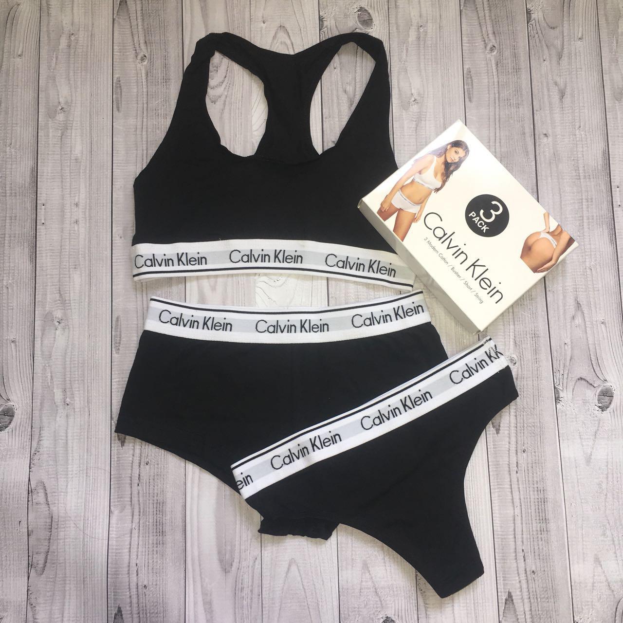 86491b135aee Оптом/Женский комплект спортивного белья Calvin Klein (топ+стринги+шорты),  черный S