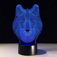 Yeduo Animal Wolf Decor 3D Led Nightlights Красочный Волк Дизайн Настольная лампа Teen Wolf Illusion Lights Спальня Современный Декор Цветной