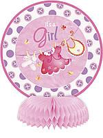 """Паперова декорація на стіл з колекції """"It's a Girl» 4шт., 15см"""