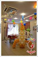 Ракета из воздушных шаров. Инопланетяне из воздушных шаров. Оформление дня рождения воздушными шарами в космической тематике.