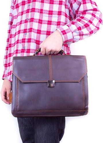 """Портфель кожаный, мужской с карманом для ноутбука до 14"""" ETERNO (ЭТЭРНО) ET20621 коричневый"""