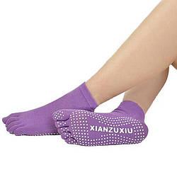 Фиолетовые носки для йоги и фитнеса
