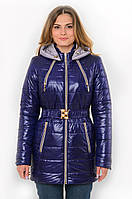 Демисезонная женская водонепроницаемая куртка на синтепоне с капюшоном и поясом 90101