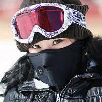 Теплая ветрозащитная спортивная маска для езды на велосипеде и катания на лыжах Чёрный