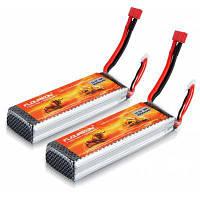 2Pcs / Set FLOUREON 11.1V 3000mAh 3S 30C (Deans Plug) Литий-полимерная батарея Оранжевый