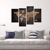YHHP 4 Панели Браун Карта мира Печать Холст Art Unframed черный и коричневый