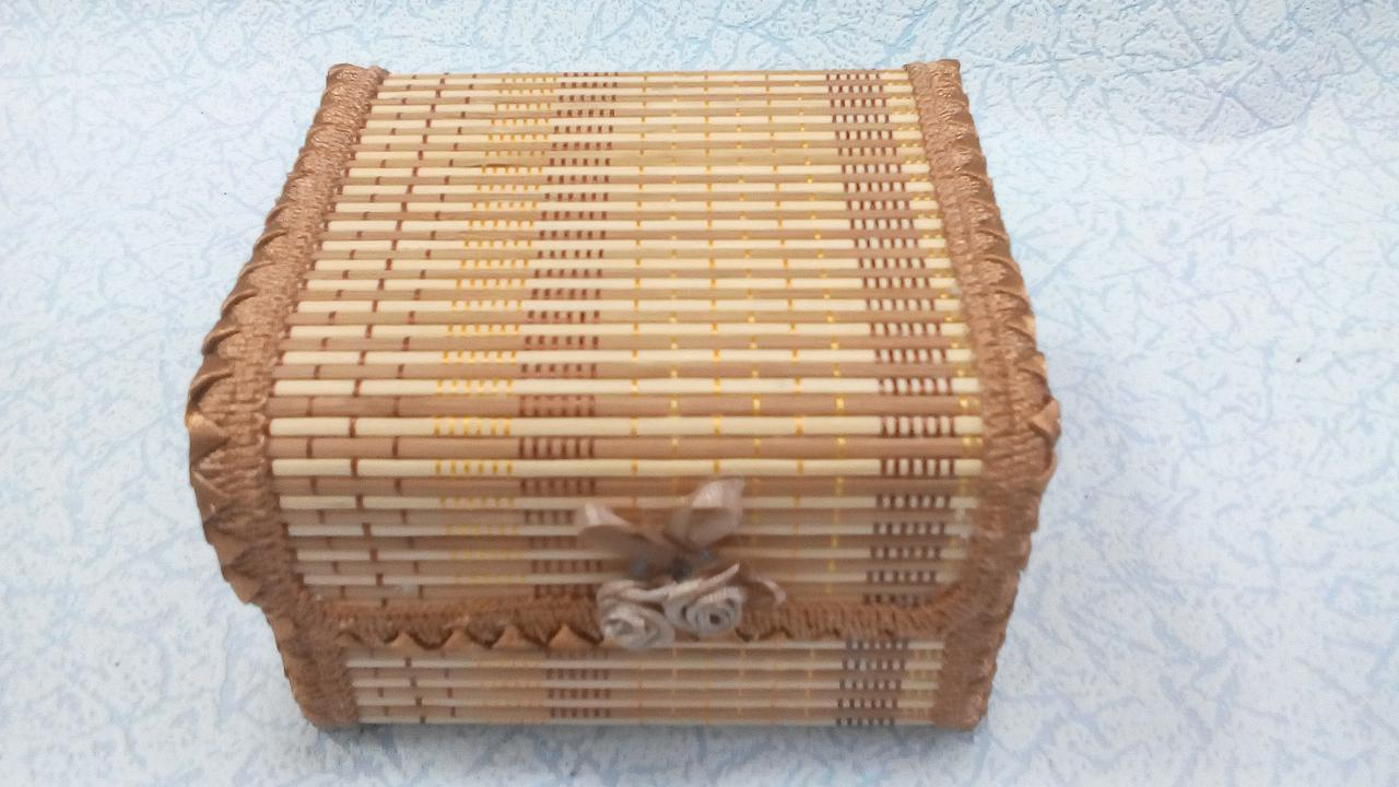 Шкатулка бамбуковая плетеная размер 12*11*9