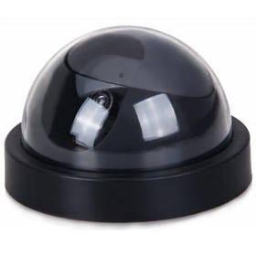 Макет купольной видеокамеры с мигающим красным диодом - черная