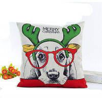 Прекрасная рождественская собака Лен Подушка Обложка Домашнее украшение Наволочка Белый