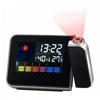 8190 многофункциональные часы-метеостанция с будильником и проектором времени с ЖК экраном Чёрный