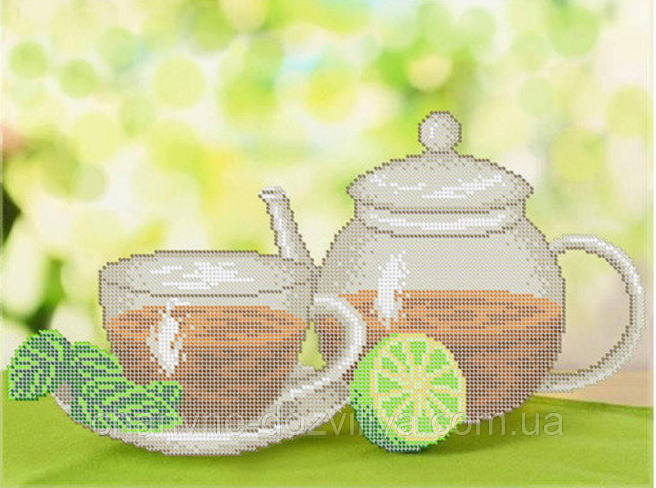 """Схема для вышивки бисером на габардине """"Натюрморт с чаем"""""""