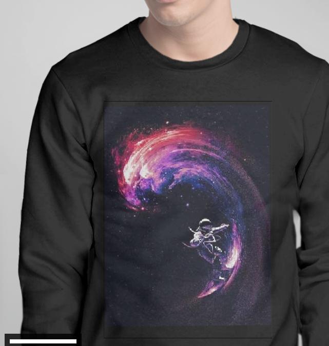 """Світшот чоловічий чорний з малюнком """"Космонавт на хвилях"""""""