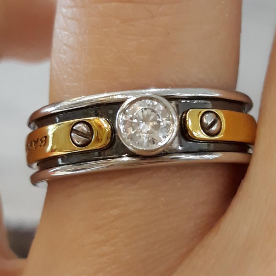 Мужское кольцо BARAKA (Барака) с позолотой и черной эмалью