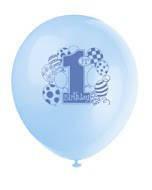 Латексні повітряні кульки на один рочок хлопчика з колекції «Перший день народження хлопчика» 8шт