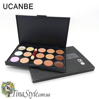 Консиллер для лица UCANBE с кисточкою 15 цветов корректор палитра румяна и кисть
