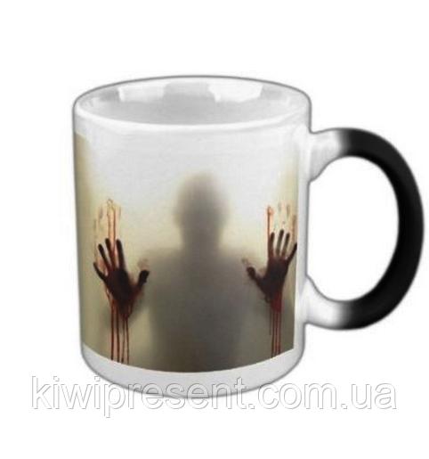 Чашка (кружка) хамелеон «зомби»