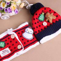 2шт Красочный детский рождественский набор-шапка и шарф с аппликацией елки и снеговика Красный