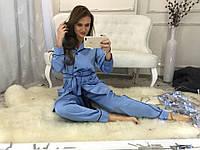 Трендовый шелковый костюм-пижама