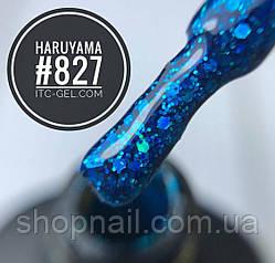 Гель-лак Haruyama №827 (ярко-голубой с голографическими блестками разного размера), 8 мл, фото 2