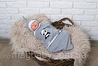 "Евро пеленка на липучках + шапочка, ""Панда"", 0-3 мес., фото 1"