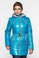 Демисезонная женская водонепроницаемая куртка на синтепоне с капюшоном и поясом 90101/1, фото 1