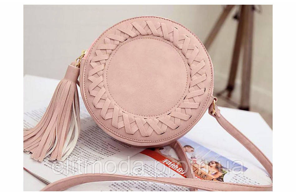 112b906bbe47 ... Стильная молодежная женская сумка розового цвета круглой формы, ...