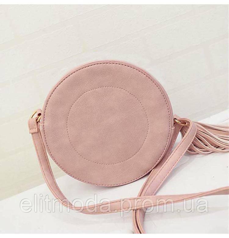 8c9c8056cf99 ... Стильная молодежная женская сумка розового цвета круглой формы, фото 4