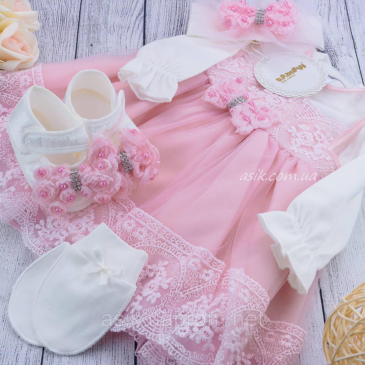 Набор с пышным розовым платьем и пинетками