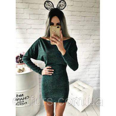 Платье мини спущенное на одно плече + (6 цветов)