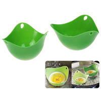 2шт силиконовая Паровая яйцо кухня посуда Пашот чашки выпечки (темно-зеленый) 36931