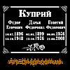Акриловая табличка с данными на 3 имени (180х240)