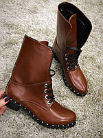 Кожаные женские ботинки с высокими берцами низ на шнуровке цвет коричневый