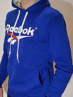 Мужская утепленная спортивная кофта Reebok (Кенгурушка, Худи) - ярко-синяя