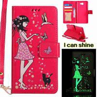 Женщины Cat Luminous Painted Pu Телефонный чехол для Samsung Galaxy J7 Prime Красный цвет (как у
