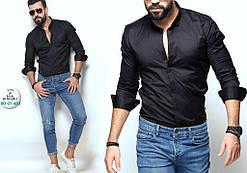 Мужская черная приталенная рубашка