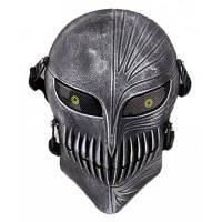 Тактическая защитная полнолицевая маска в форме черепа для велоспорта на открытом воздухе черный+серебристый