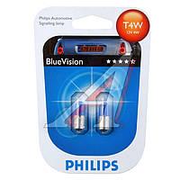 Лампа накаливания T4WBlueVision12V 4W BA9s (Производство Philips) 12929BVB2