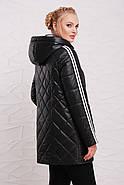 Женская демисезонная удлиненная куртка 206 / размер 50-60 / цвет черный, фото 2