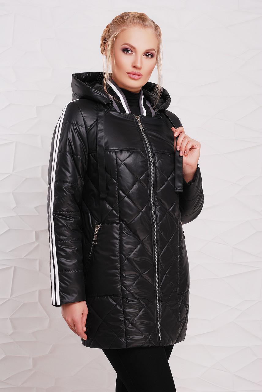 Женская демисезонная удлиненная куртка 206 / размер 50-60 / цвет черный