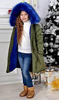 Теплая куртка-парка для девочки с искусственным мехом на капюшоне 5-7 лет